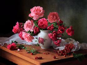 Still life with roses and berries