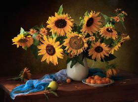 Still life with sunflowers and yellow plums