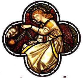 Angel swinging a censer, stained glass window removed from the east window of St. James' Church, Bri