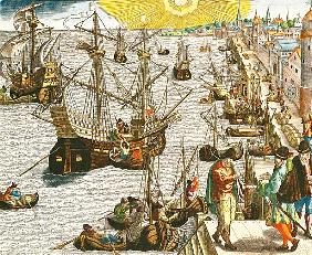 Departure from Lisbon for Brazil, the East Indies and America, illustration from ''Americae Tertia P