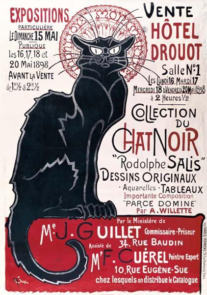 Poster advertising an exhibition of the ''Collection du Chat Noir'' cabaret at the Hotel Drouot, Par