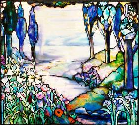 A Leaded Glass Landscape Window By Tiffany Studios, Circa 1915, Depicting A River Meandering From A