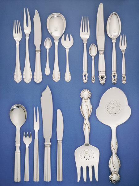 Danish Silver Flatware Services Variously Designed By Johan Rohde, Sigvard Bernadotte, And Georg Jen