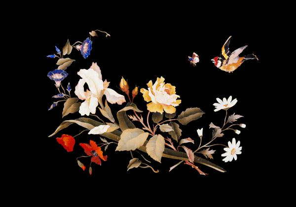 A Florentine Pietra Dura Panel, Inset With A Goldfinch Chasing A Butterfly Above A Floral Bouquet