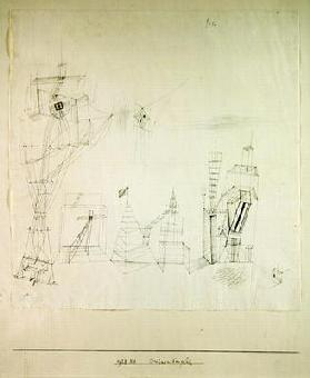 Stage building site, 1928 (no 44) (pen on paper on cardboard)
