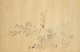 The Tower withstands Attack, 1927 (pen & ink on paper laid on card)