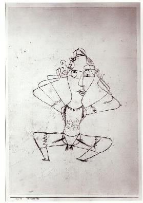 The trombone sounds, 1921 (no 110) (oil transfer drawing on paper on carboard) (b/w photo)
