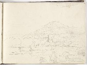 Sketch of hilltop, riverbank and figures