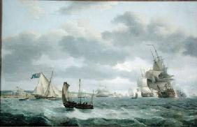 Men-of-War and other Ships in a Breeze off Dover