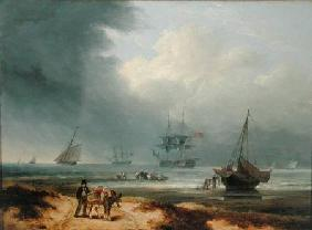 Shipping in a Windswept Bay with Men Working on the Shore