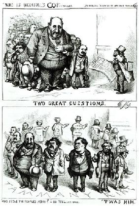 Cartoons featuring William Marcy ''Boss'' Tweed, James Ingersoll and George Miller, from ''Harper''s