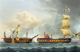 Capture of La Fique, January 5th 1795, from 'The Naval Achievements of Great Britain' by James Jenki