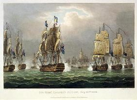 Sir Robert Calder's Action, July 22nd 1805, engraved by Thomas Sutherland for J. Jenkins's 'Naval Ac