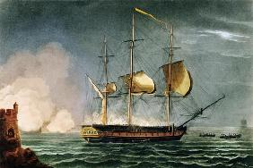 Cutting out of the Hermione from the Harbour of Porto Cavallo, October 25th 1799, from 'The Naval Ac