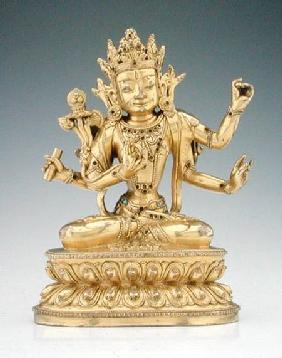 Statuette of a goddess (gilt copper alloy & gems)