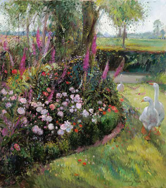 Rose Bed and Geese, 1992