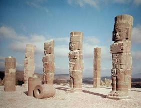The atlantean columns on top of Pyramid B, Pre-Columbian