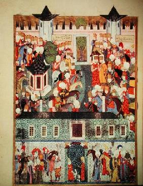 H 1517 f.17v Enthronement of Suleyman the Magnificent (1494-1566) from the 'Suleymanname' by Arifi