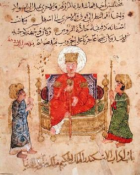 Sultan on his throne, from 'The Better Sentences and Most Precious Dictions' by Al-Moubacchir