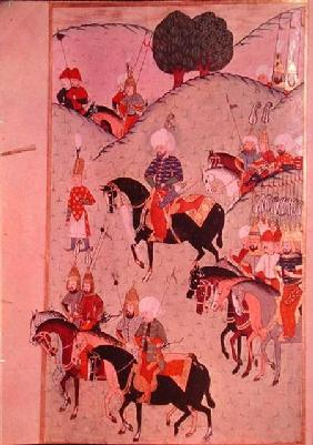 TSM H.1339 Sultan Selim II (1524-74) riding between Kotahia and Belgrade to rejoin the Imperial Army