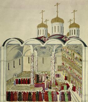 The Coronation of the Tsar Mikhail Feodorovich (Michael I)  in the Moscow Kremlin on 11th July 1613