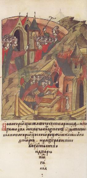 Novgorod veche. Novgorodians plunder the court of Posadnik. (From the Illuminated Compiled Chronicle