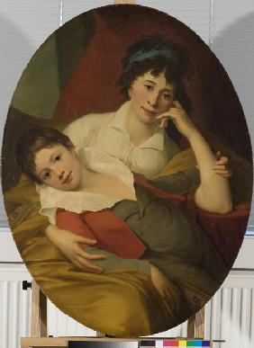 Portrait of Ekaterina Fyodorovna Muravyova-Apostol (1771-1848) with son