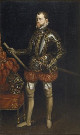Portrait of Philip II (1527-1598) in armour from the battle of Saint Quentin