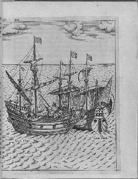 Battle between Francis Drake's ship Golden Hind and the Spanish ship Cacafuego. (From Levinus Hulsiu