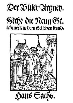 "Title page of edition of ""The Remedy for Vices"" by Hans Sachs"