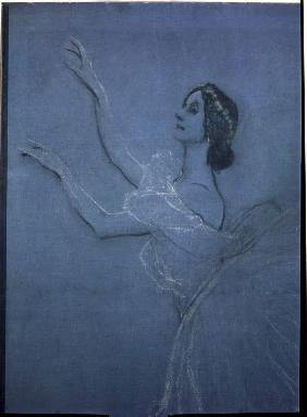 Ballet dancer Anna Pavlova in the ballet Les sylphides by F. Chopin. Detail