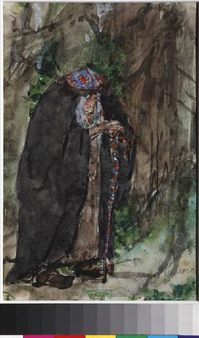 Naina.Costume design for the opera Ruslan and Lyudmila by M. Glinka