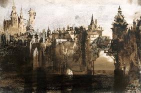 Town with a Broken Bridge (graphite, India ink and sepia on