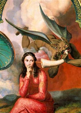 Good and Evil: the Devil Tempting a Young Woman