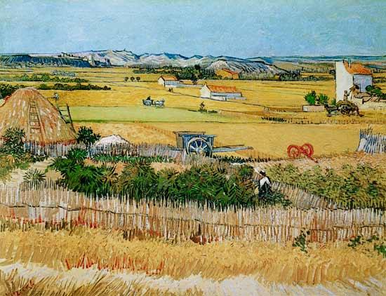 Titre de l'image : Vincent van Gogh - La Moisson à La Crau, avec Montmajour dans le Fond
