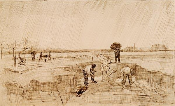 Van Gogh, Cemetery in the Rain / Draw.