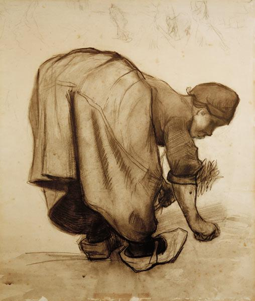 Van Gogh, Peasant Woman Gleaning /Draw.