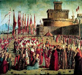The Pilgrims are met by Pope Cyriacus in front of the Walls of Rome (The Legend of Saint Ursula)