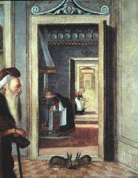 The Birth of the Virgin, detail of servants in the background