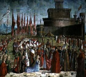 The Pilgrims Meet Pope Cyriac before the Walls of Rome, from the St. Ursula Cycle