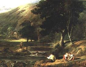 Borrowdale, Cumberland, with Children Playing By A Stream