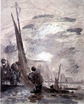 Figures with Cart and Boats on the shore, near cliffs