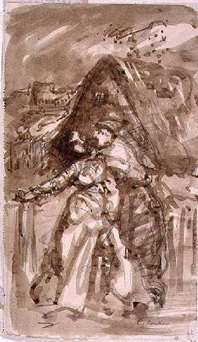 Sketch of a Man embracing a Woman at a Cottage Gate