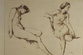 Sepia Drawing of Nude Woman