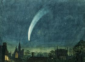 Donati's Comet over Balliol College (w/c with scratching out on paper)