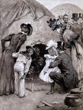 'A Peek at the Natives', Savage South Africa at Earl's Court, 1899 (pen and washes on paper)