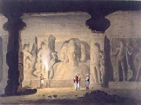 The Great Triad in the Cave Temple of Elephanta, near Bombay, in 1803, from Volume II of 'Scenery, C