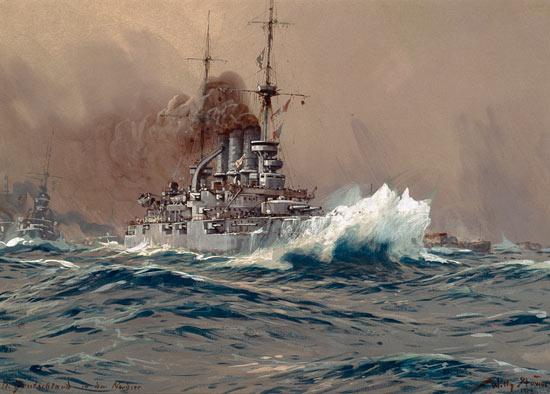 Vaisseau amiral S.M.S. Deutschland - peinture huile sur toile ...