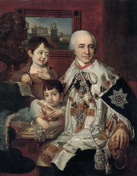 Portrait of Admiral Count Grigory Grigoryevich Kushelev (1754-1833) with children