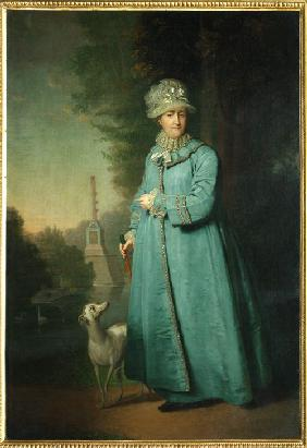 Catherine II strolling in the park at Tsarskoye Selo with the Chesme Column in the background